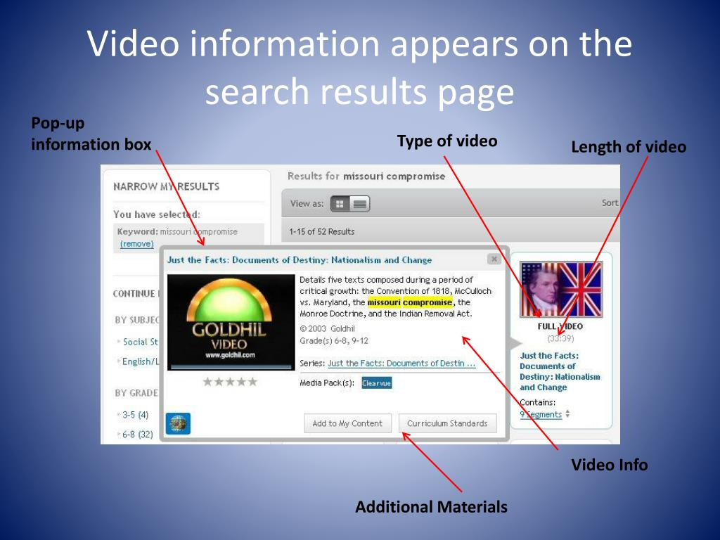 Video information appears on the search results page