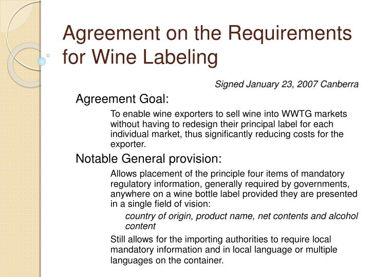 Agreement on the Requirements for Wine Labeling