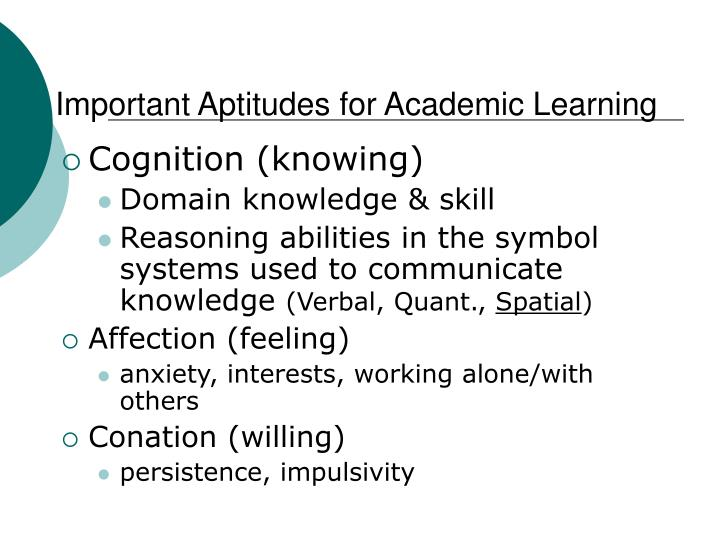 Important Aptitudes for Academic Learning