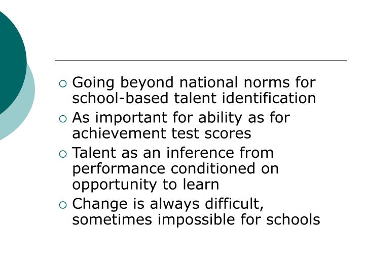 Going beyond national norms for school-based talent identification