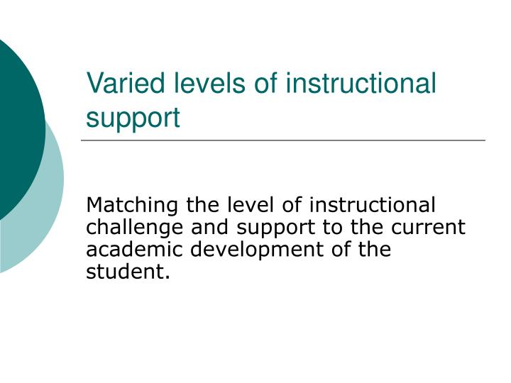 Varied levels of instructional support