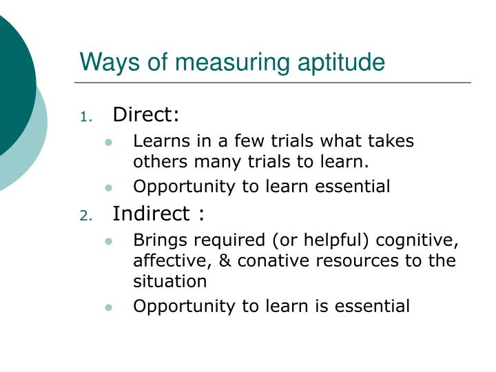 Ways of measuring aptitude