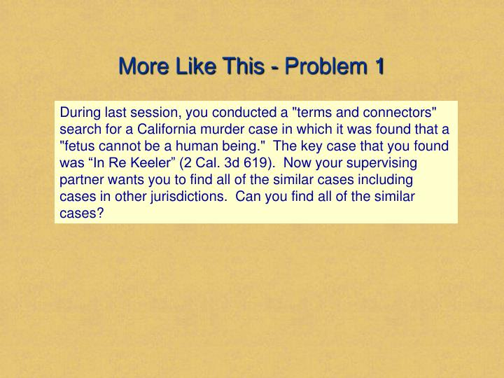 More Like This - Problem 1