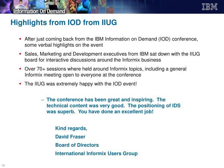Highlights from IOD from IIUG