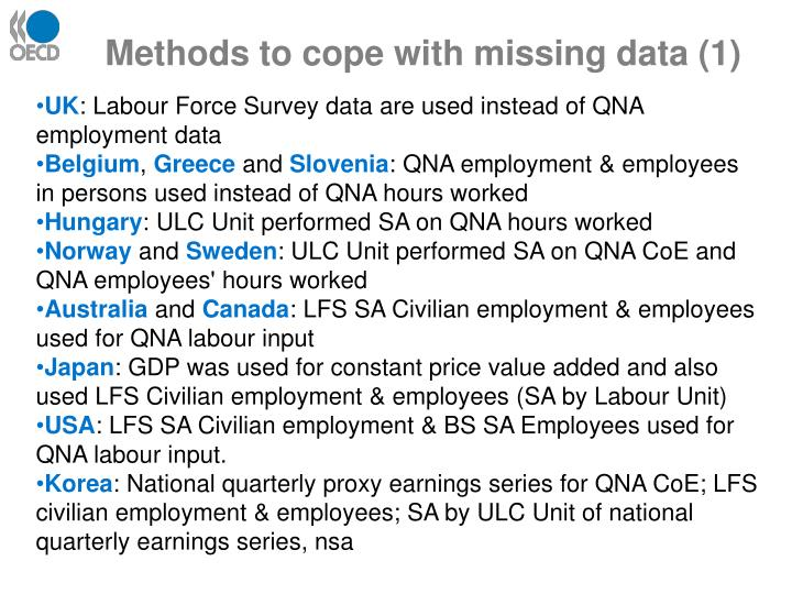 Methods to cope with missing data (1)
