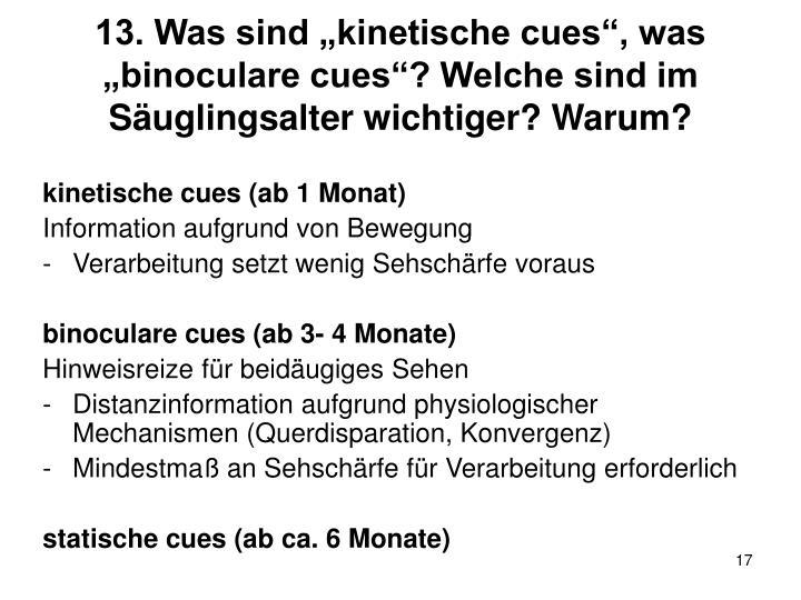 """13. Was sind """"kinetische cues"""", was """"binoculare cues""""? Welche sind im Säuglingsalter wichtiger? Warum?"""