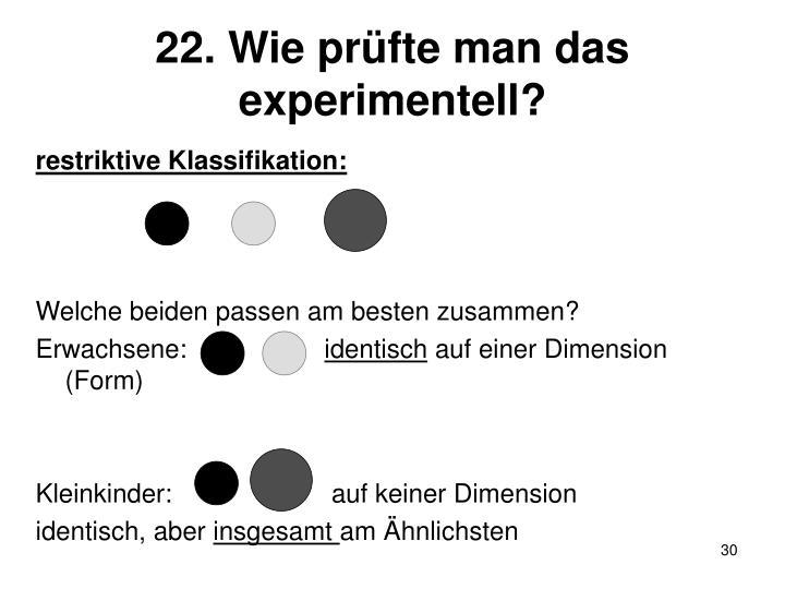 22. Wie prüfte man das experimentell?