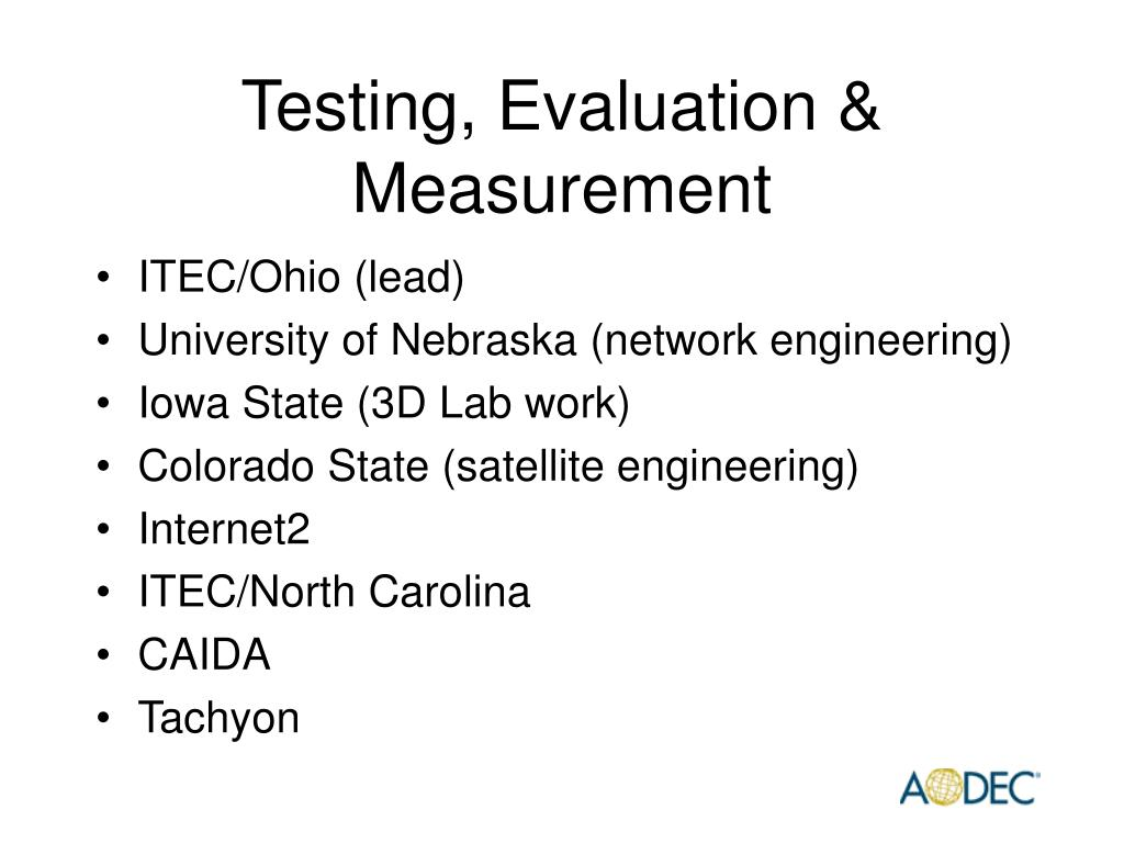 Testing, Evaluation & Measurement