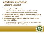 academic information learning support