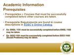 academic information p rerequisites