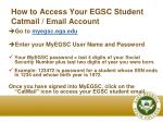 how to access your egsc student catmail email account