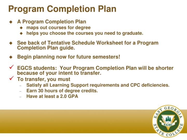 Program Completion Plan