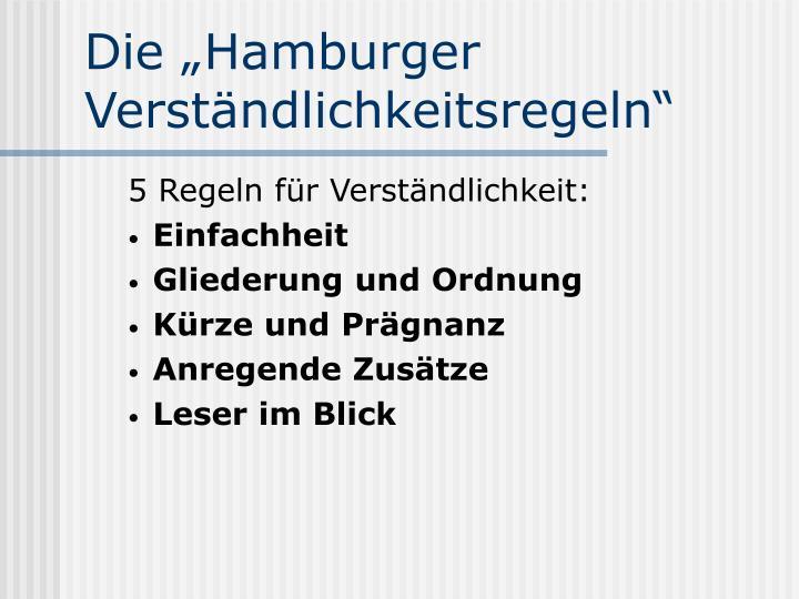 """Die """"Hamburger Verständlichkeitsregeln"""""""