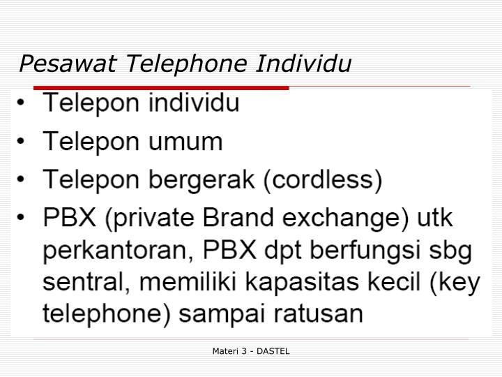 Pesawat Telephone Individu