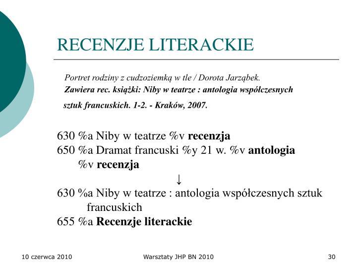 RECENZJE LITERACKIE