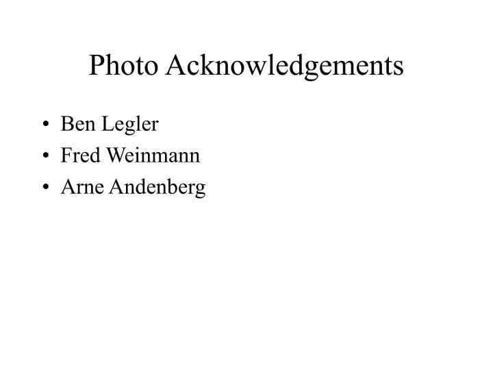 Photo Acknowledgements
