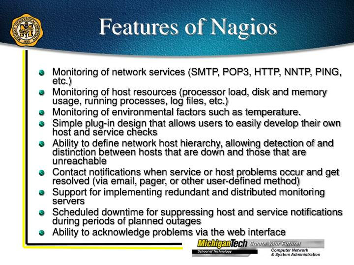 Features of Nagios
