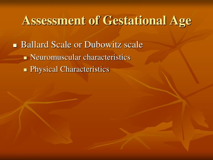 Assessment of Gestational Age
