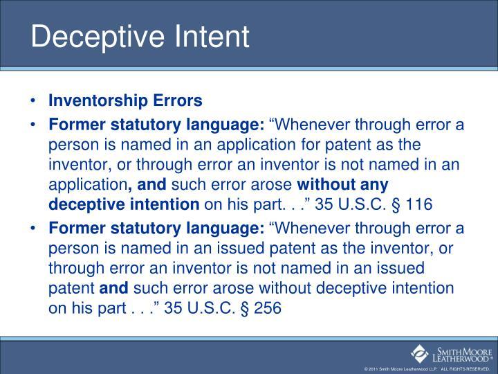 Deceptive Intent