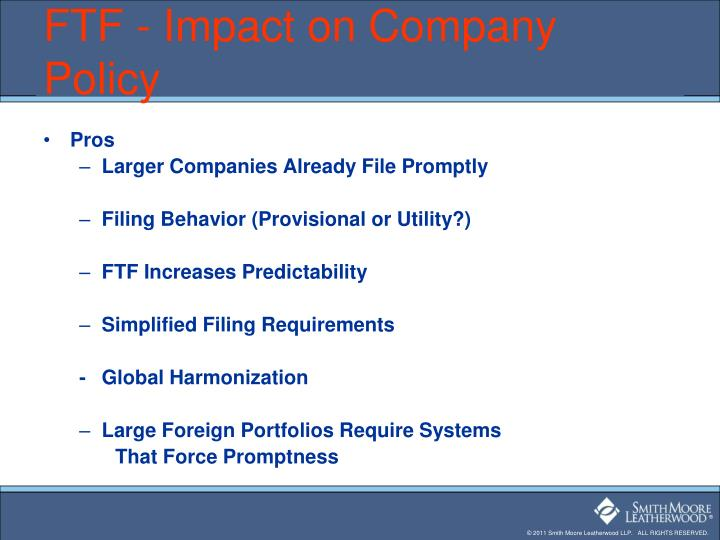 FTF - Impact on Company Policy