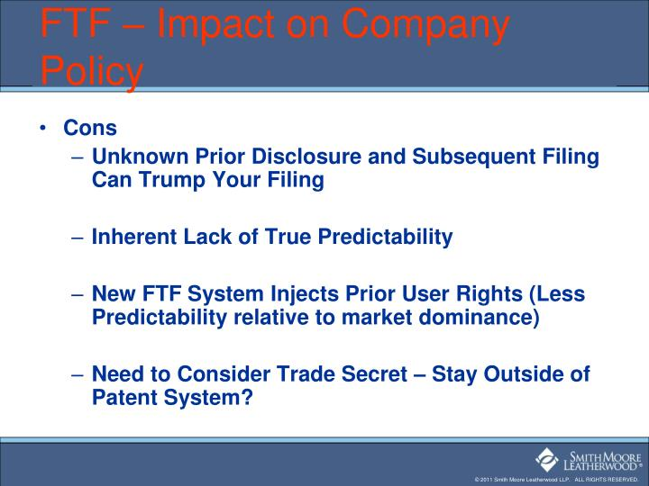 FTF – Impact on Company Policy