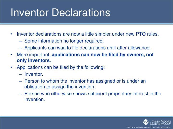 Inventor Declarations