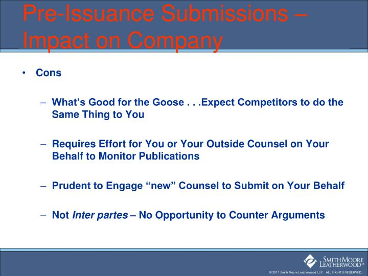 Pre-Issuance Submissions – Impact on Company