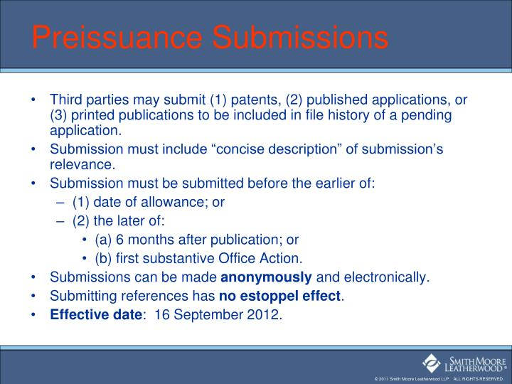 Preissuance Submissions