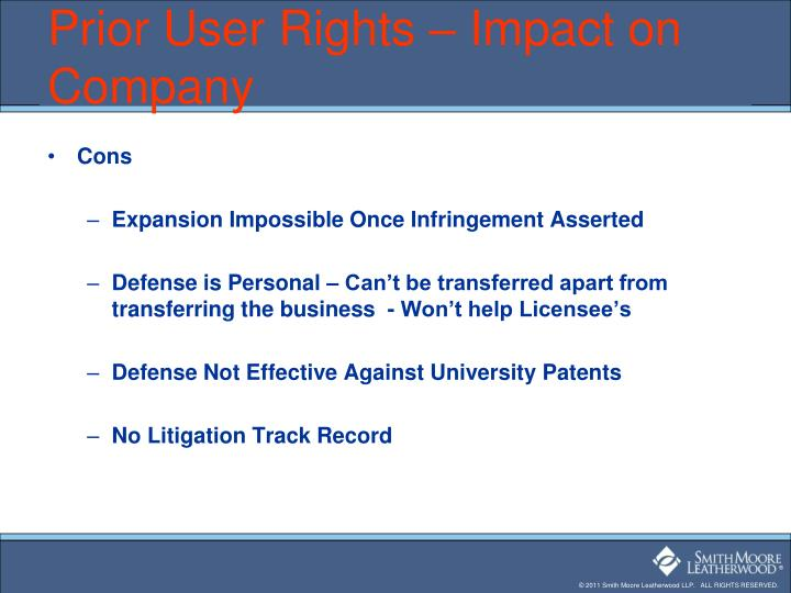 Prior User Rights – Impact on Company