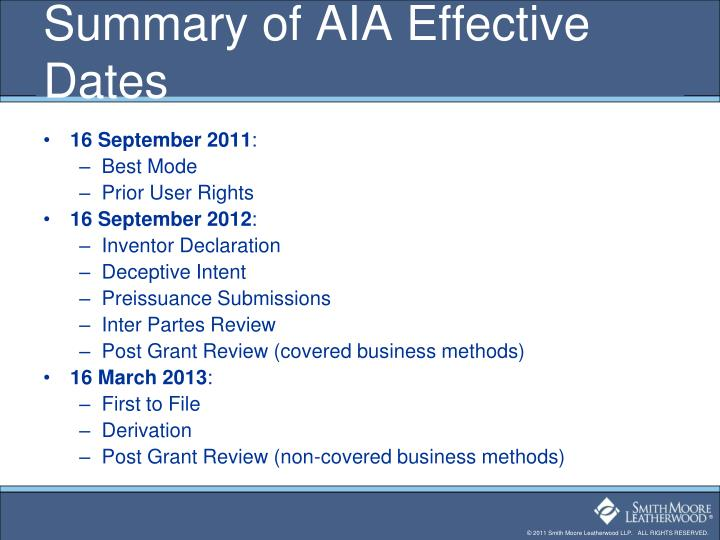 Summary of AIA Effective Dates