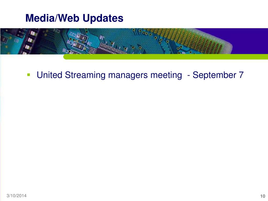 Media/Web Updates