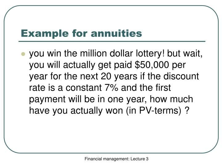 Example for annuities