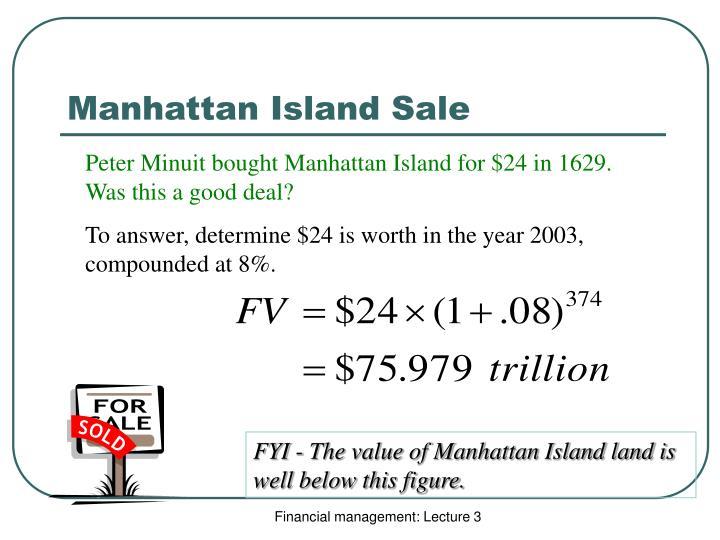 Manhattan Island Sale