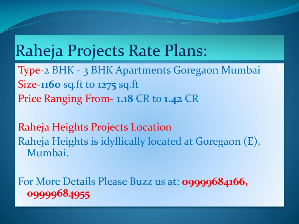 Raheja Projects Rate Plans: