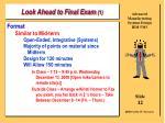 look ahead to final exam 1