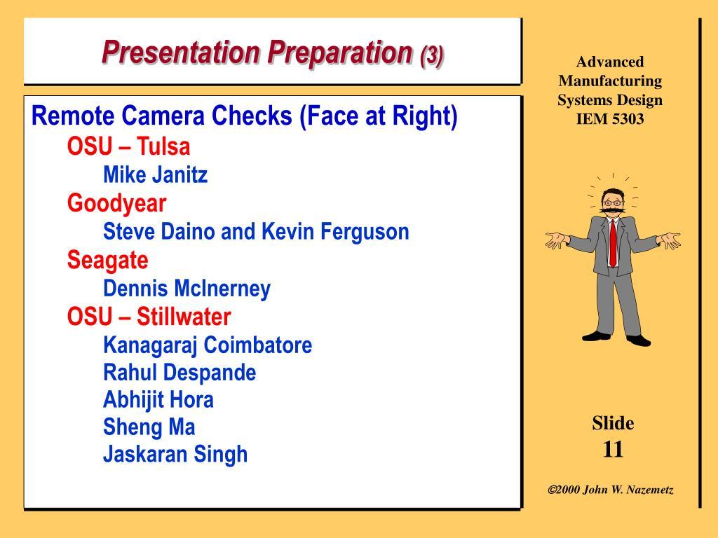 Presentation Preparation