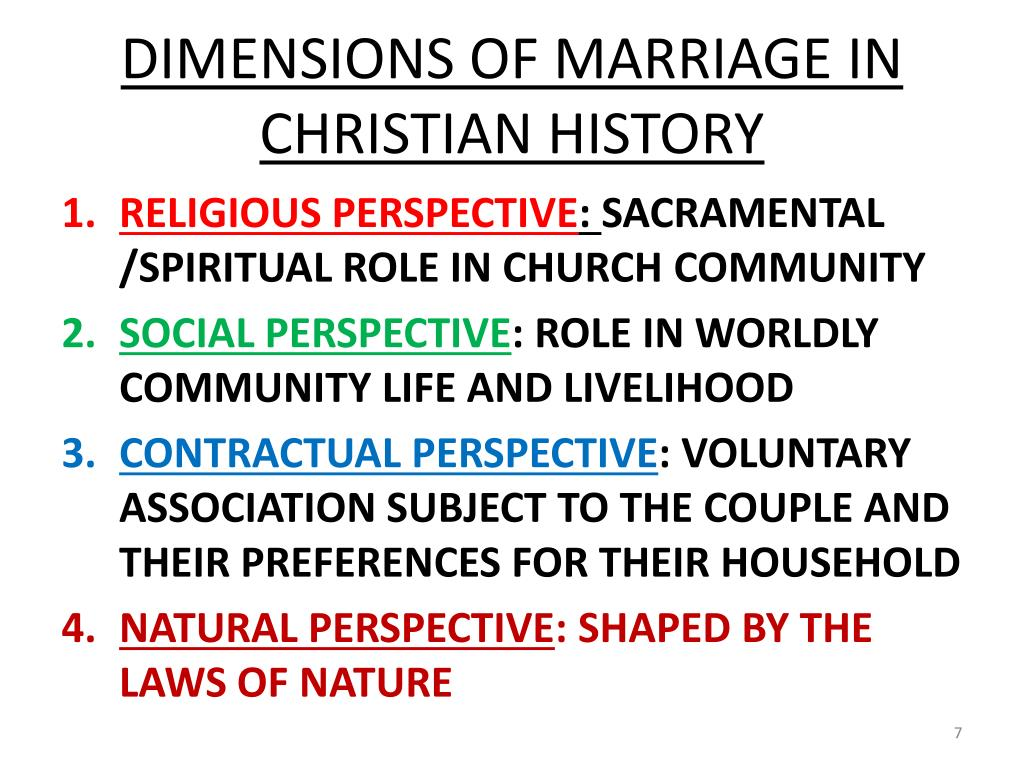 DIMENSIONS OF MARRIAGE IN CHRISTIAN HISTORY