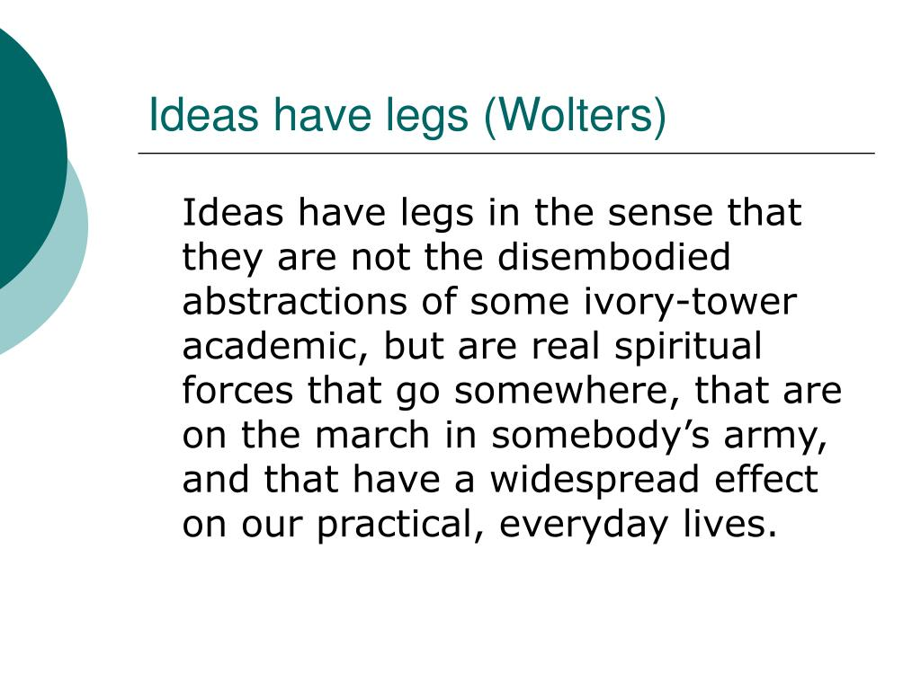 Ideas have legs (Wolters)