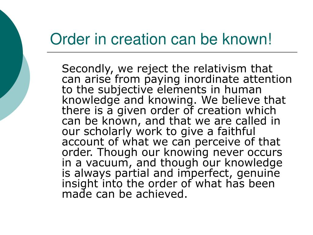 Order in creation can be known!