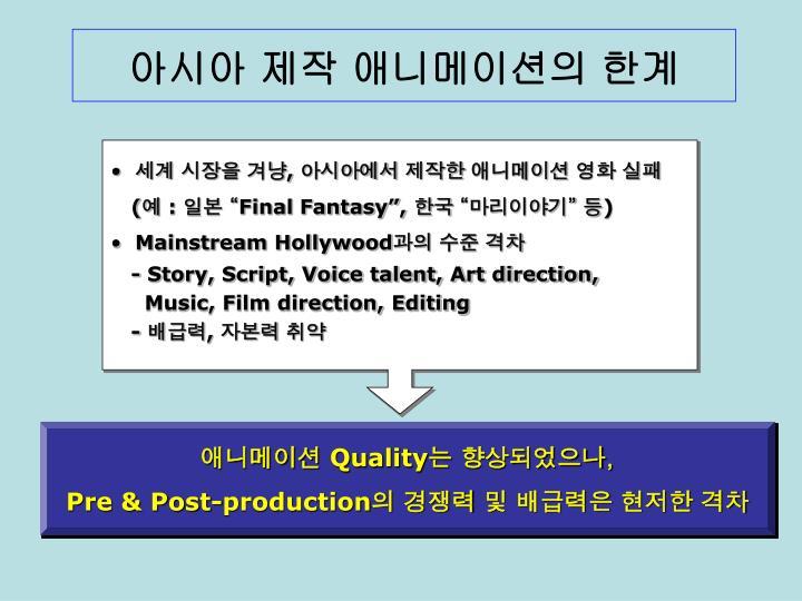 아시아 제작 애니메이션의 한계