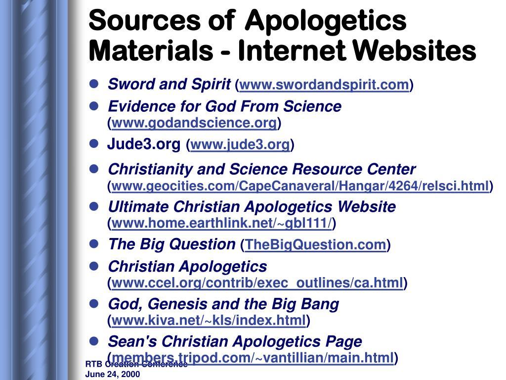 Sources of Apologetics Materials - Internet Websites