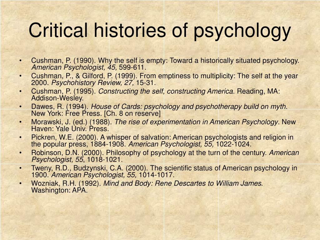 Critical histories of psychology