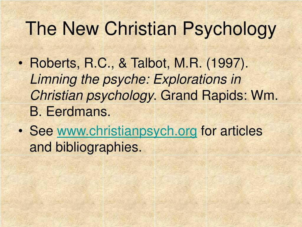 The New Christian Psychology