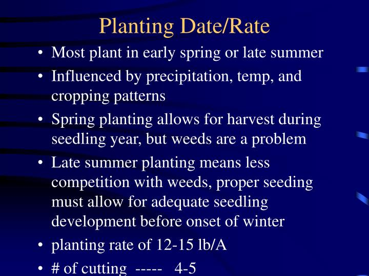 Planting Date/Rate