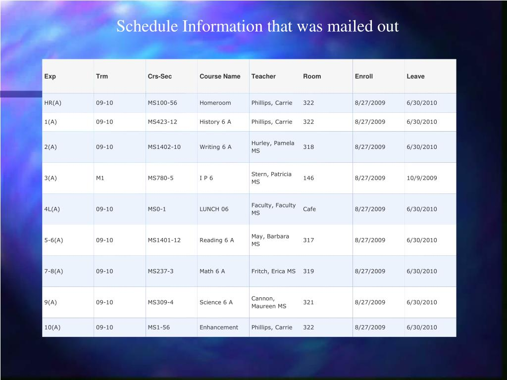 Schedule Information that was mailed out
