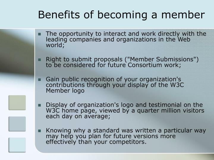 Benefits of becoming a member