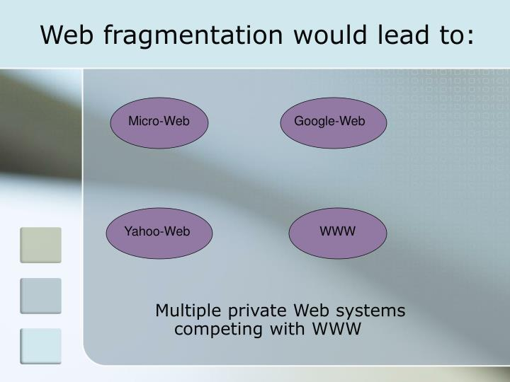 Web fragmentation would lead to: