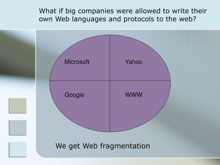 What if big companies were allowed to write their own Web languages and protocols to the web?