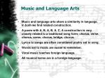 music and language arts