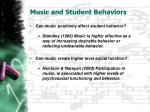 music and student behaviors